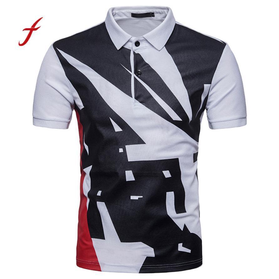 Feitong Brand Clothing 2018 T-Shirt Top Personalidad de la moda Estampado de hombres Casual Slim Camiseta de manga corta Camisetas de verano para hombre