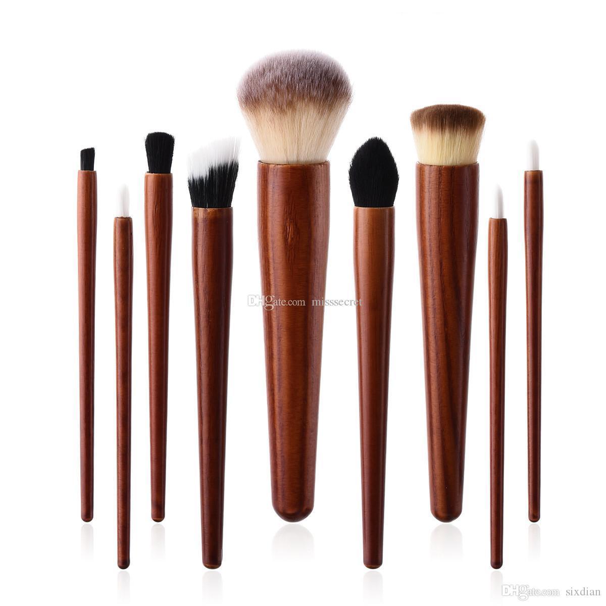 9 Teile / satz Kosmetik Make-Up Pinsel Set Holzgriff Foundation Power Lidschatten Stirn Concealer Blending Contour Schönheit Pinsel Werkzeuge Kits