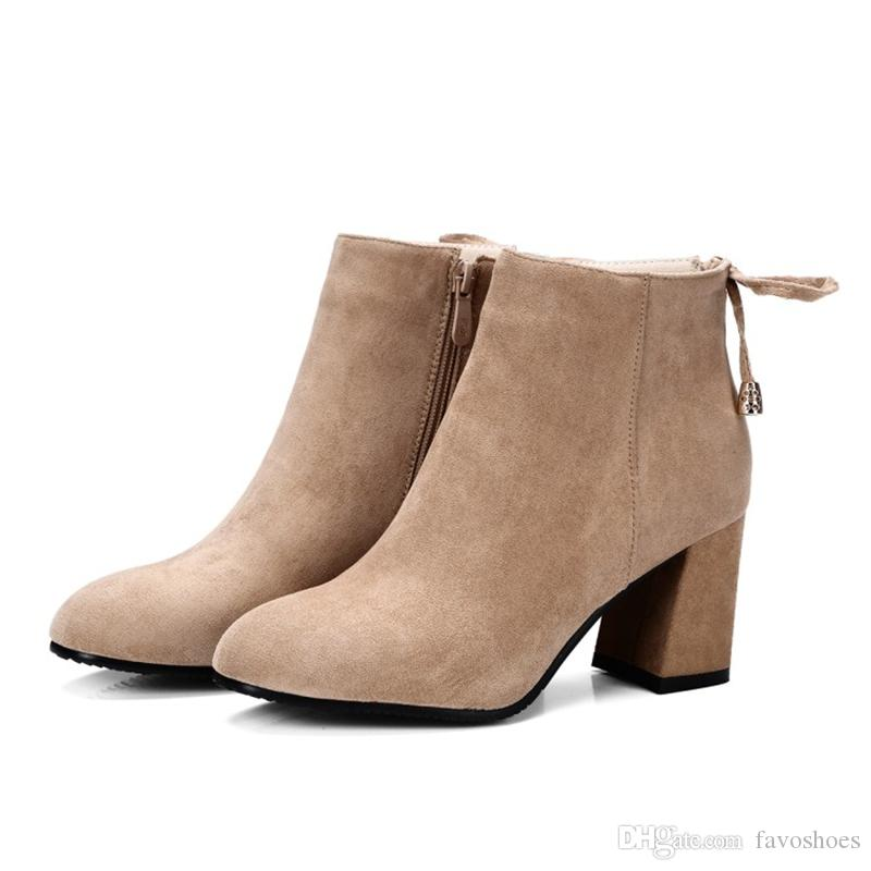 Hot Sale Womens Ladies Solid Color Square Toes Shoes Chunky Heel Zip Ankle Boots B906 Size Customized By Favoshoes