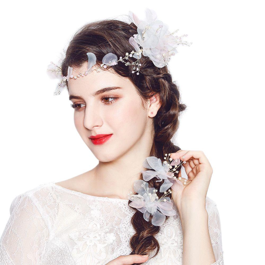 Newest Flower Organza Pearls Hair Clips Comb Set Wedding Hair Hair Accessories Bridal Headpieces for Bride Bridesmaids Headdress JCH194