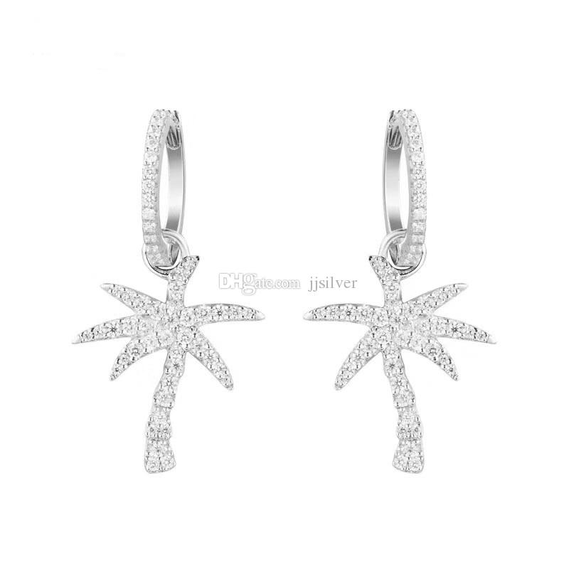 925 Ayar Gümüş Moda Basit Kadınlar Hindistan Cevizi Hurma Ağacı Dangle Küpe Damla Küpe Yaz Tatil Hawaii Küpe takı İngilizce Kilit