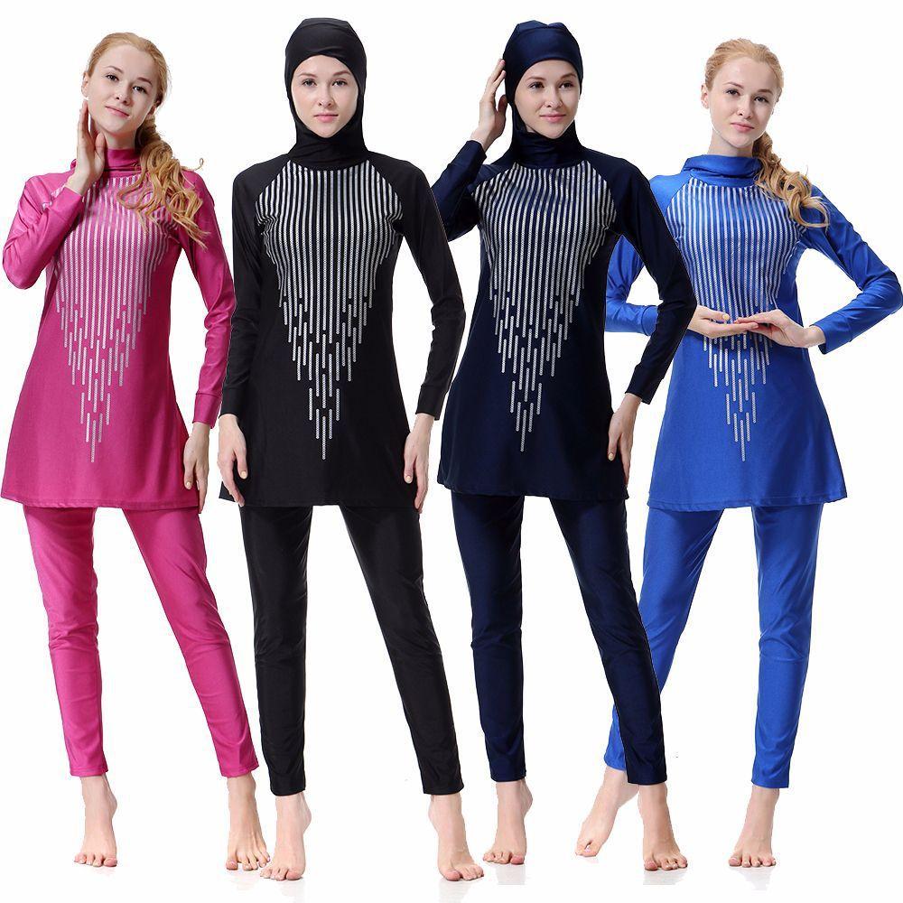 Skromny pełny okładka muzułmańska stroje kąpielowe plus rozmiar samice strój kąpielowy plażowy kostium kąpielowy Burkinis do kostiumu muzułmańskiego dla pani