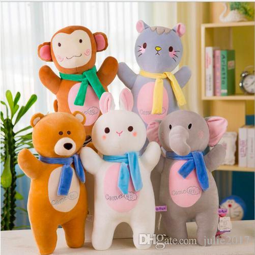Lovely Simulation Cartoon Rabbit Monkey Elephant Bear Cat Plush Toy Stuffed Doll Plush Pillow Children Birthday Gift