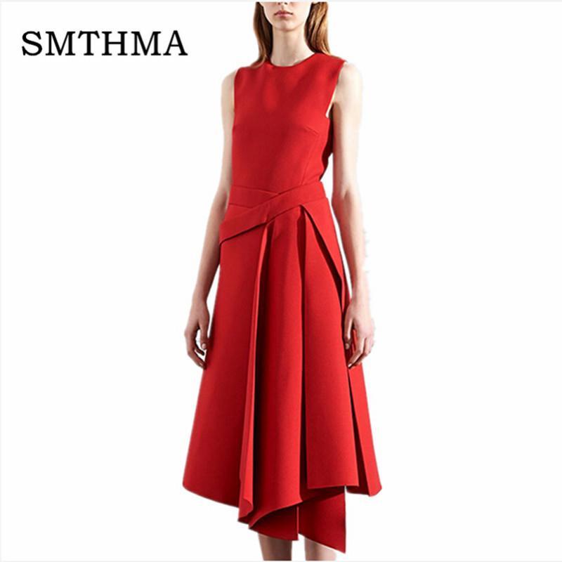 SMTHMA 2018 Spring Runway Designer Vestido de Alta Qualidade Das Mulheres Sem Mangas Elegante Preto / Vermelho Irregular Vestido Inferior Y1891001