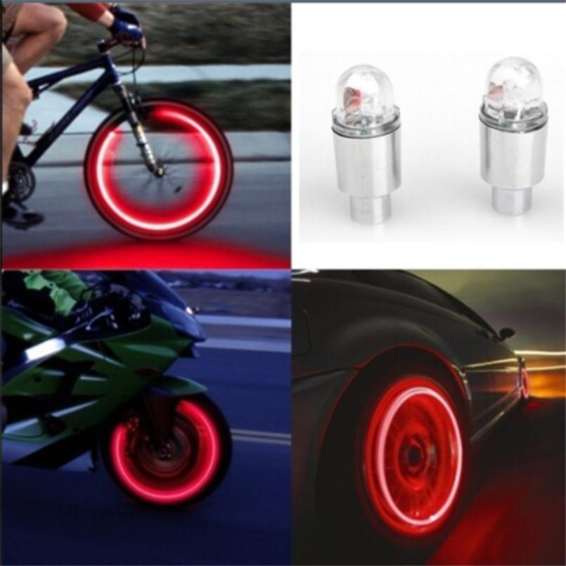 جديد وصول 2017 اكسسوارات السيارات لوازم الدراجة النيون الأزرق ستروب أضواء led الاطارات صمام Caps-2PC ciclismo C18110701