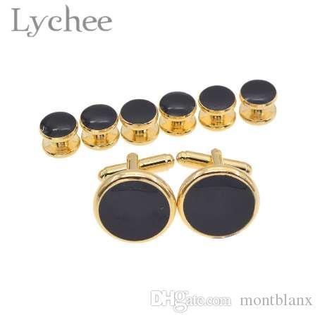 Lychee 8 unids Multi Color Tuxedo Shirts Gemelos Cuff Studs Set Gemelos para hombres camisa joyería de la boda