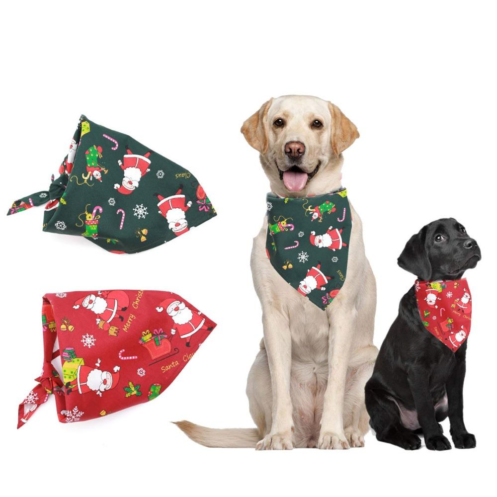 Dog Bandana Fringe Christmas Reversible Winter Pom Poms Pet Bandana Over the Collar Customizable Personalizable Bears