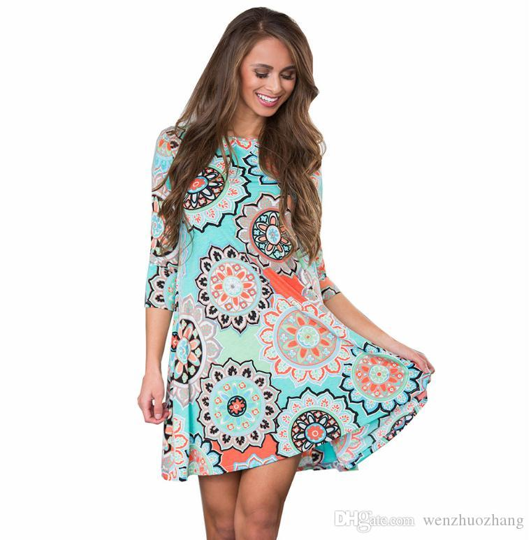 European and American autumn new 7 - point sleeve pocket folk style printing large dress 6 color 5 yards.