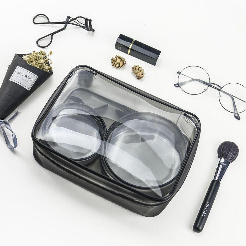 3шт/комплект охраны окружающей среды ПВХ прозрачный косметический мешок женщины путешествия макияж туалетные сумки макияж сумки организатор чехол