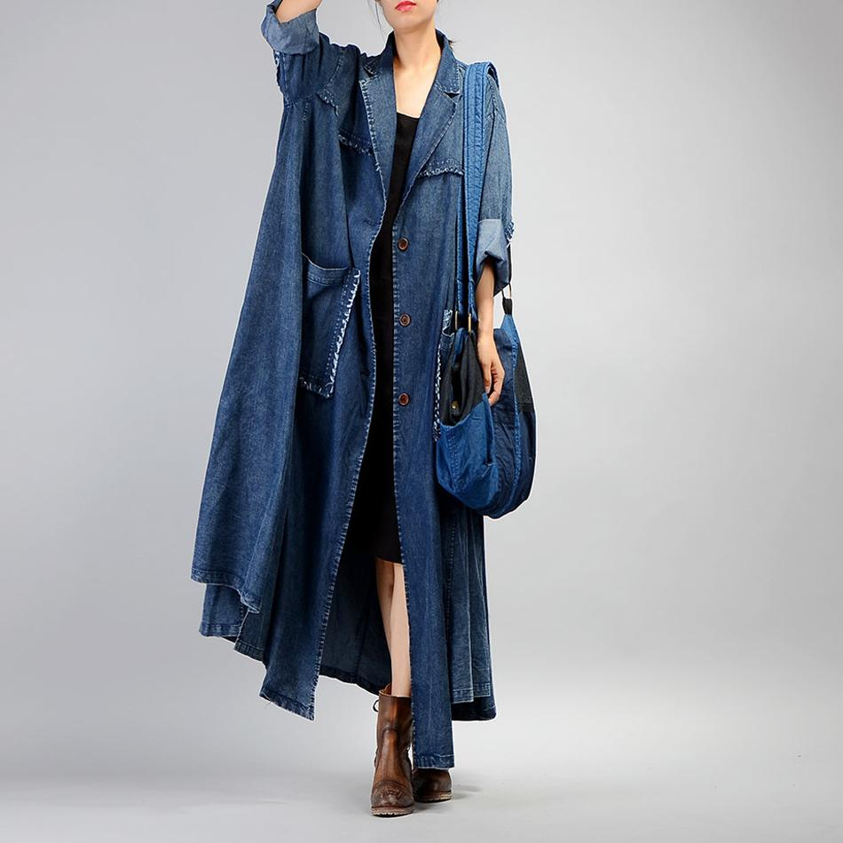Wholesale- Johnature Women Denim Trench Coat 2017 Fall Winter New Pockets Long Sleeve Blue Plus Size Women Clothing Coats Button Trench