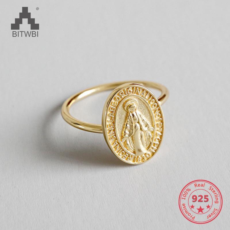 S925 Sterling Silver Golden Virgin Mary Medalha Open Index Finger Ring