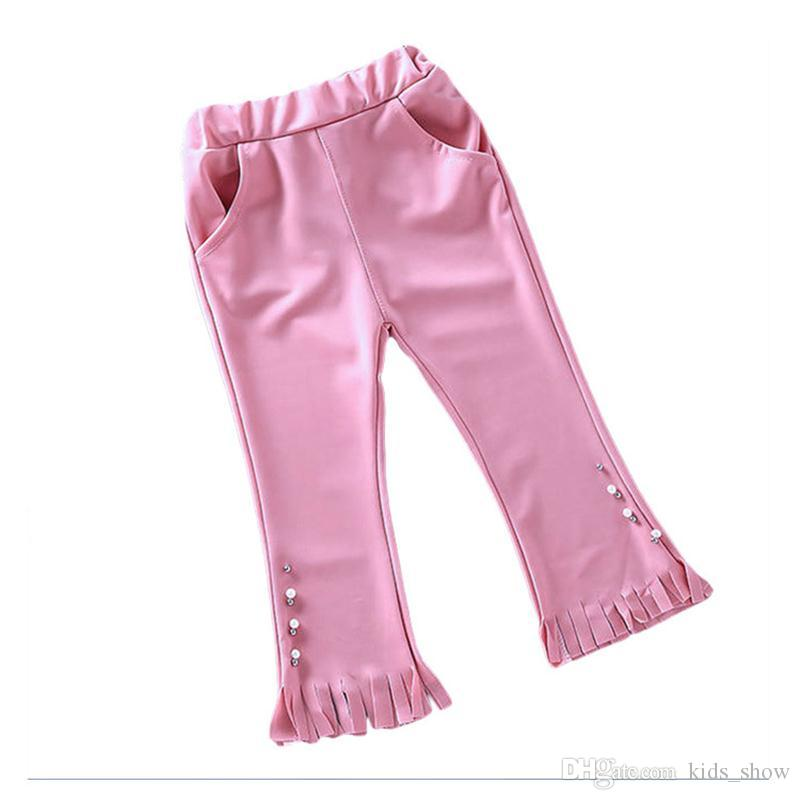 Baby Girl Solid Color Pants Toddler Girl Autumn fall Casual elastic Soft leggings Kids bell-bottoms trousers Children's tassel flare Pants