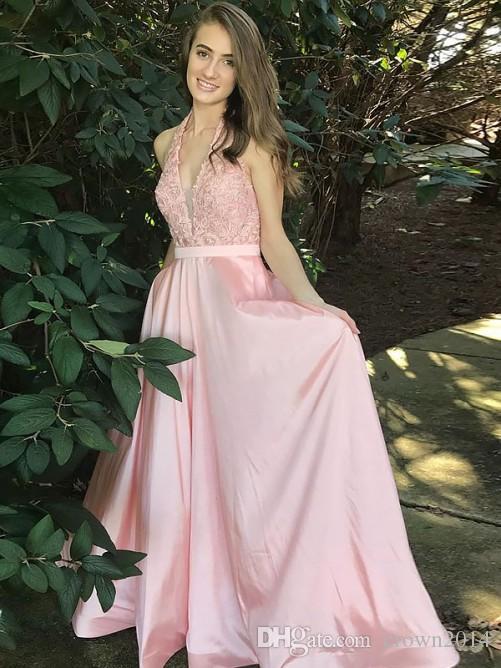 2019 Pink Long Prom Dress V Neck Lace Applique Open Back Taffeta A-line Formal Celebrity Party Dresses Evening Sexy Vestidos De Fiesta
