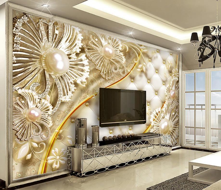Papel de parede 3D moderno da flor abstrata feita sob encomenda do diamante 3D da pintura 3D estereoscópico para pinturas decorativas da sala de visitas