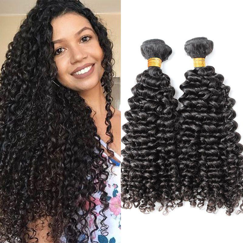 جودة عالية اللون الطبيعي البرازيلي مجعد الشعر البشري لحمة 2pcs / lot 10-24inch الشعر ملحقات شحن مجاني Julienchina بيلا الشعر