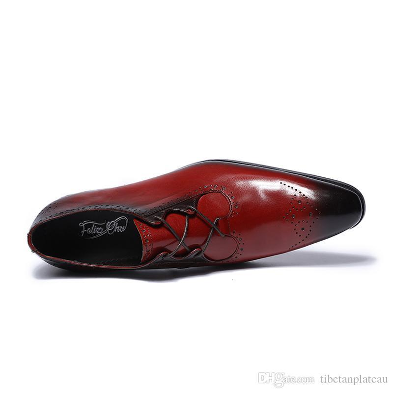 Großhandel Neue Schuhe Moderne Herren Echtes Leder Lace Up Brogue Schuhe Party Hochzeit Anzug Formale Schuhe Herren Kleid Schuh Von Tibetanplateau,