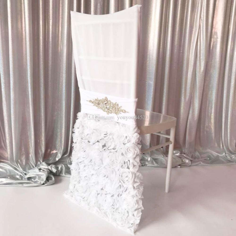 Toppest Grade Livraison Gratuite Organza Plissée Avec Broche Et Voile Rosette Chaise Sash Chair Band Chair Hood