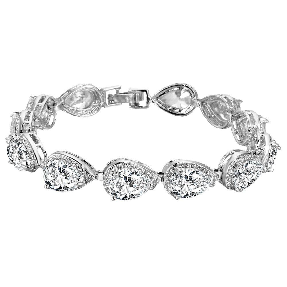 Braccialetto di tennis Brillante Teardrop Bridal Bracciale Cubic Zircone Gioielli da sposa Per regalo Gioielli da damigella d'onore