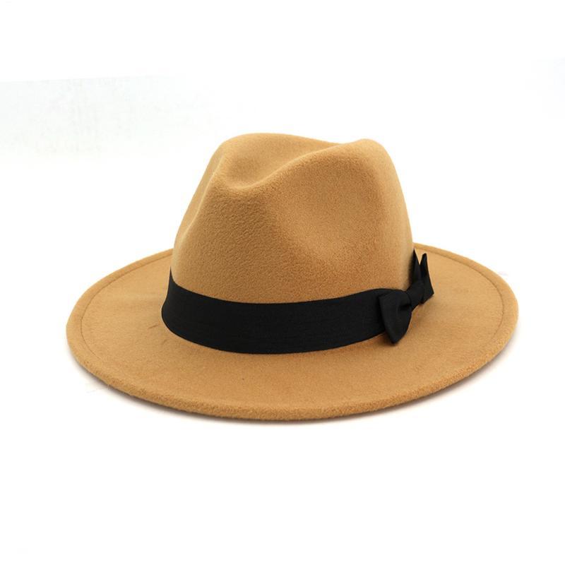 12 Fest Farbe Schwarz Wollfilz Panama Fedora-Hut Bowknot Band verzierte Frauen Mens Wide Brim Jazz-Hut-Kappe Trilby