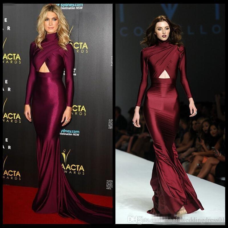 Michael Costello Long Sleeve Evening Dresses 2018 Burgundy High Neck Plus Size Prom Dresses Mermaid Style Vestidos de Noche