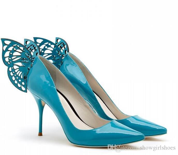 2018 الوردي الأزرق براءات الاختراع والجلود أحذية عالية الكعب أجنحة الفراشة أشار تو المرأة مضخات الكعوب الخنجر أحذية الزفاف الزفاف