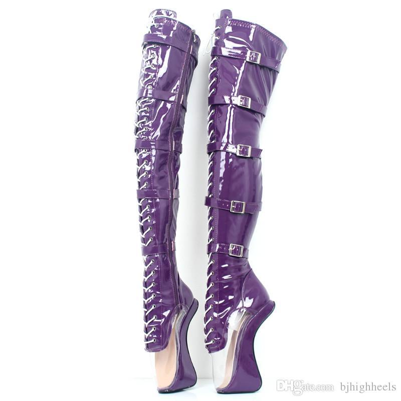 18CM Heel Height Sexy Round Toe Hoof Heel Platform Party Over-the-Knee- Boots US size 5.5-14.5 No.MT1830