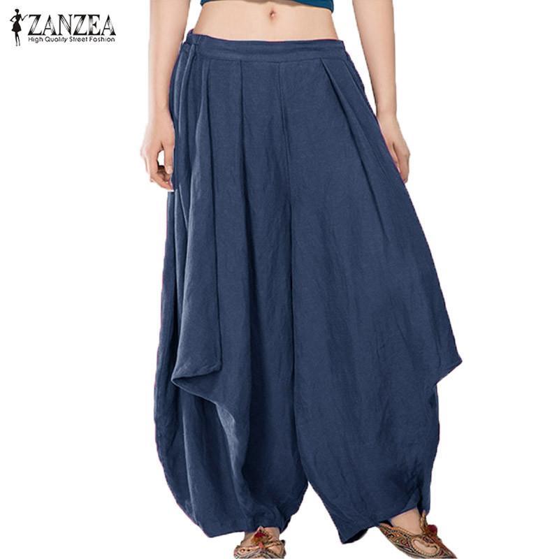 2018 ZANZEA Womens Summer Elastic Waist Casual Loose Harem Wide Leg Bloomers Pants Baggy Long Trousers Capris Palazzo Plus Size Y1891705
