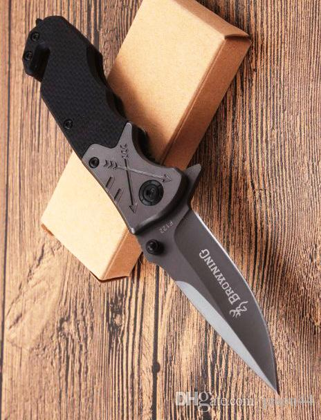 mayorista Browning F122 mango de acero de alta calidad cuchillo plegable Cuchillo de supervivencia de caza Caza EDC Tools cuchillo de regalo plegable al aire libre