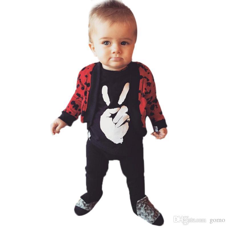 Unisex Sieg Geste Gedruckt Babyspielanzug Kinder Kleidung Infant Baumwolle Langarm Overall für Jungen Mädchen Neugeborene Kleidung