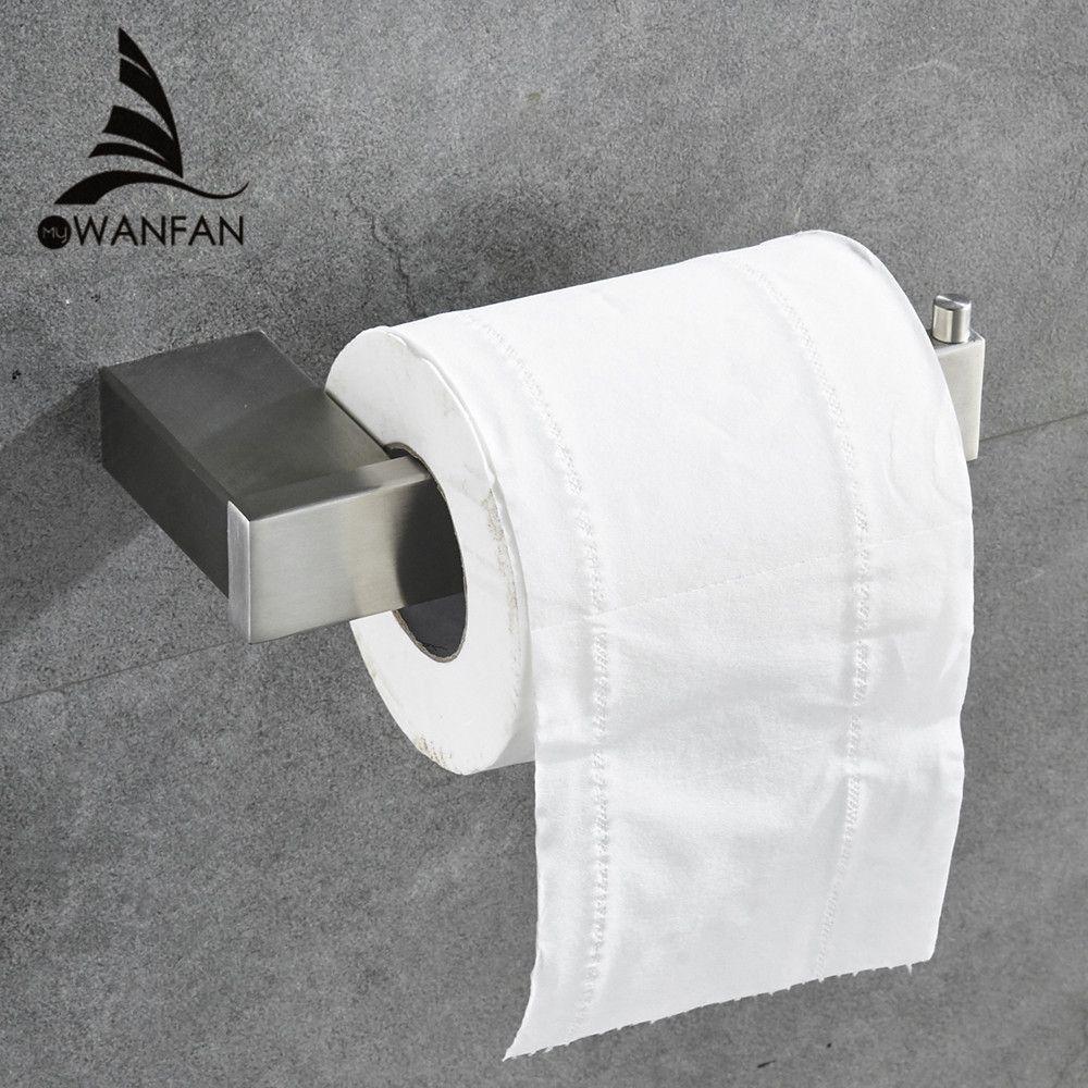 Porte-papier SUS 304 en acier inoxydable WC Porte-papier hygiénique Salle de bain sans couvercle noir Salle de bains Accessoires Rack mural 610008