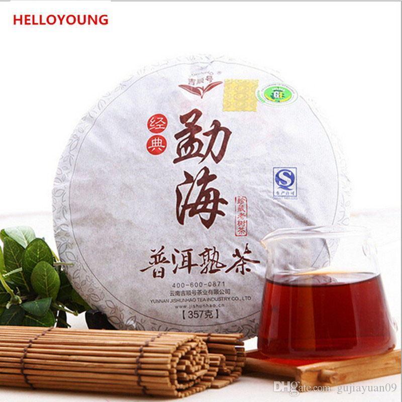 Sıcak Satış 357g Olgun Puer Çay Yunnan Menghai Klasik Koku Puer Çay Kek Organik Doğal Pu'er Eski Ağaç Pişmiş Puer Çay Siyah Puerh