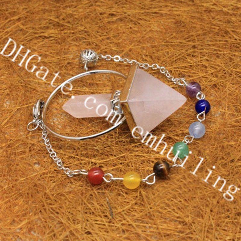 10Pcs 7 Chakra Healing Crystals Beads Chain Natural Rose Quartz Dowsing Pendulum Hexagonal Prism Pyramid Stone Pendant Reiki Balance Jewelry