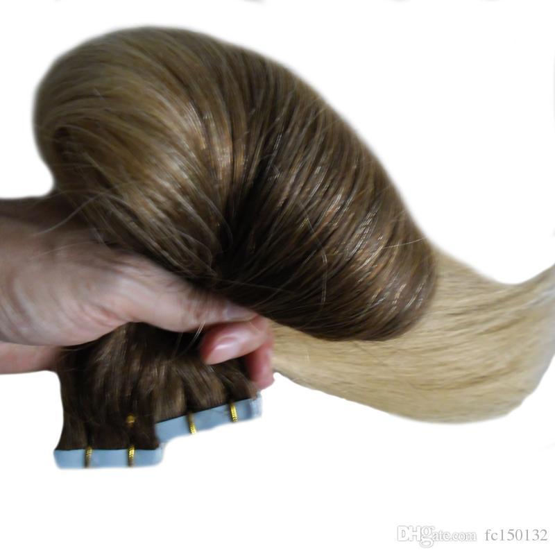 T2 / 613 اللون شقراء الشعر البرازيلي الشريط في الشعر البشري 100 جرام لحمة الجلد العذراء مستقيم 40 قطعة أومبير الشريط في الشعر البشري
