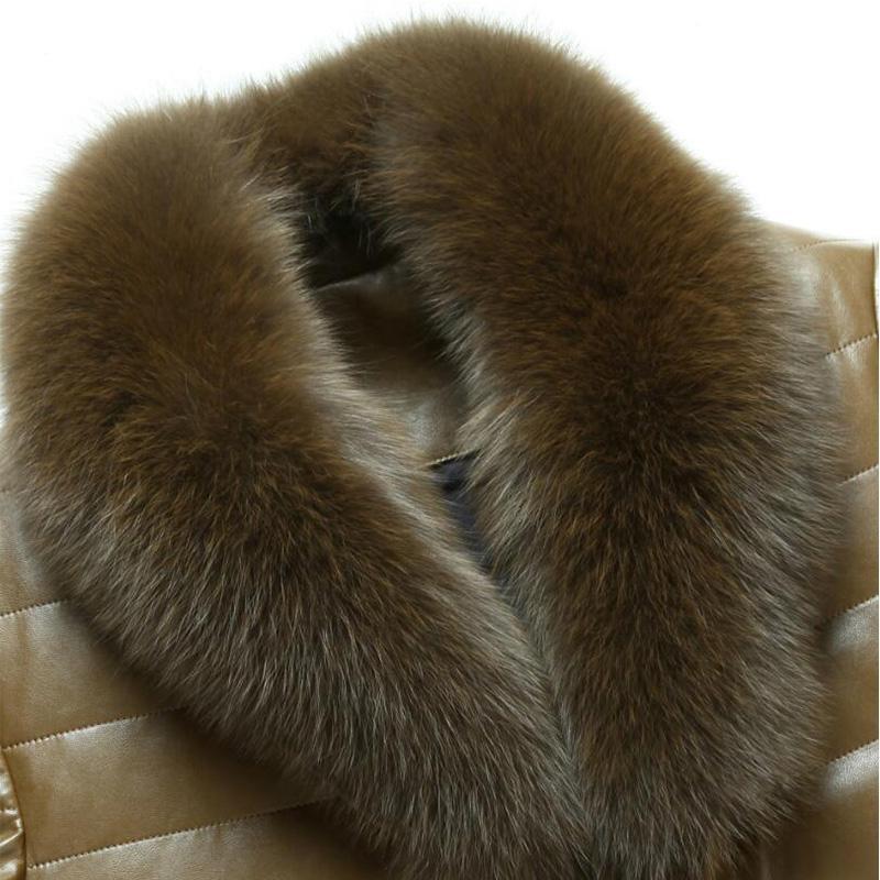 Großhandel ENWAYEL Winter Luxus Daunenjacke Herren Lederjacke Männer Daunenmantel Jacken Top Qualität Winddichtes Warme Pelzkragen EW114 Von Michalle,