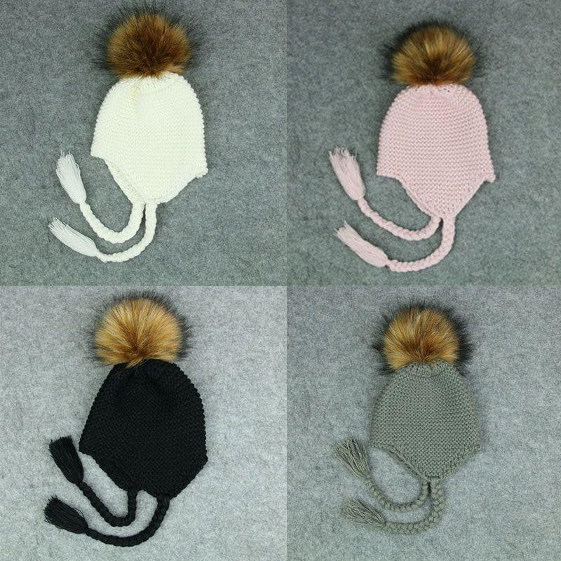 Nettes Kleinkind-Kind-Mädchen-Jungen-Baby Baby-Winter-warmer Crochet Wollmütze Beanie Mütze Schwarz Rosa Weiß Grün