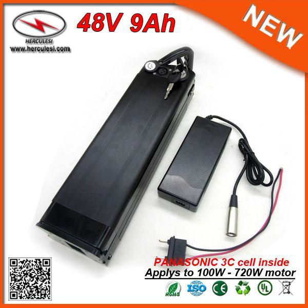 Poignée facile 13S 3C Cellule Poisson Argent Vélo Électrique Batterie 48V Batterie Au Lithium Packs 48V 9Ah avec Port USB 2.0 + BMS + Chargeur