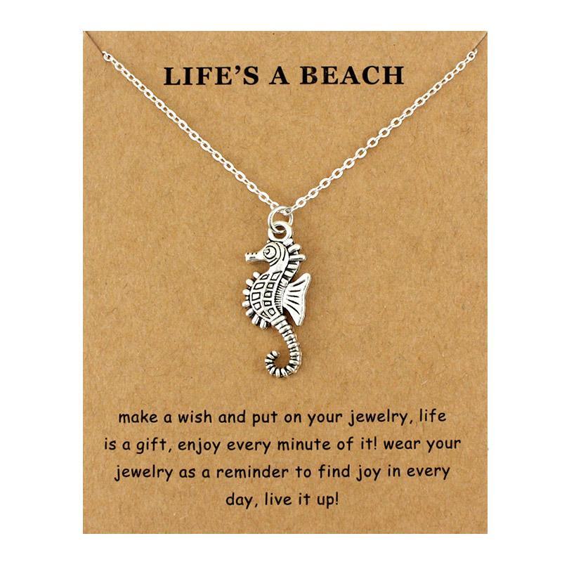 Seepferdchen Hippocampus Strand Ozean Anhänger Halsketten Wellen Seestern Meeresschildkröte Sand Dollar Meerjungfrau Frauen Männer Modeschmuck Geschenk