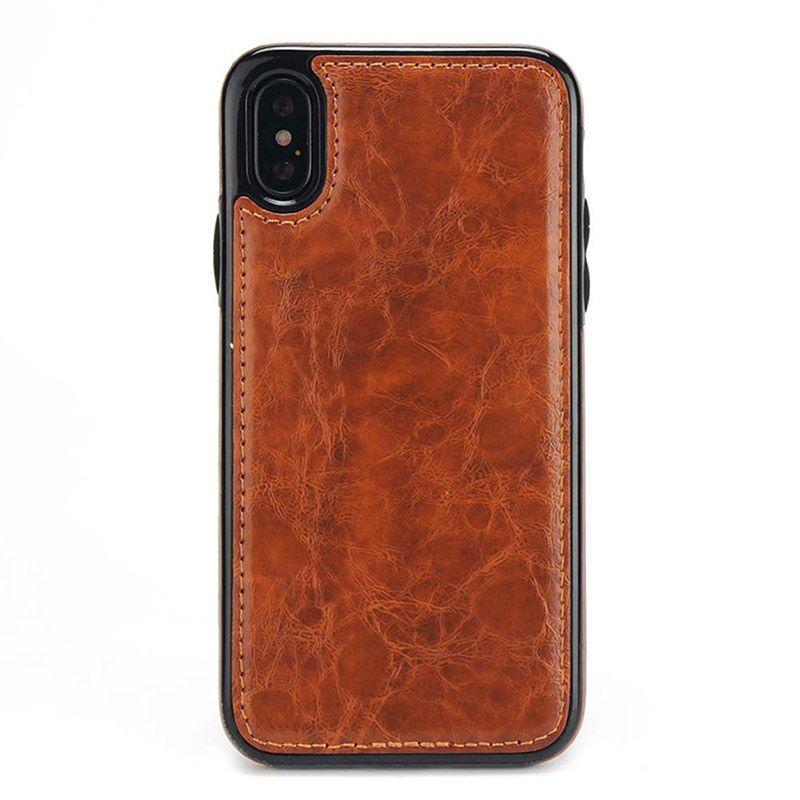 Tek Parça Lüks PU Deri Çalışma Için Araç Tutucu Telefon Kılıfı Için mıknatıs Ile iPhone XS MAX XR 7 8 Artı 6 6 S Tasarım Kapak Kılıf