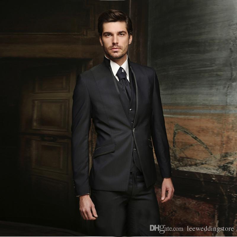 Men Suits 2018 Black Stand Collar Wedding Suits For Man Fashion Bridegroom Custom Made Slim Fit Formal Tuxedos Best Man Blazer Prom 3Piece
