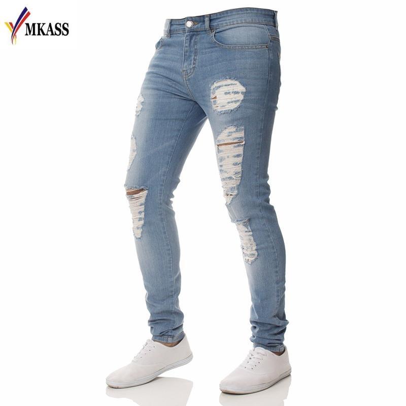 diseño de calidad 05461 638b1 Compre Venta Caliente Jeans Hombres Con Agujeros Denim Super Skinny Famous  Designer Brand Slim Fit Jean Pants Scratched Biker Jeans A $33.86 Del ...