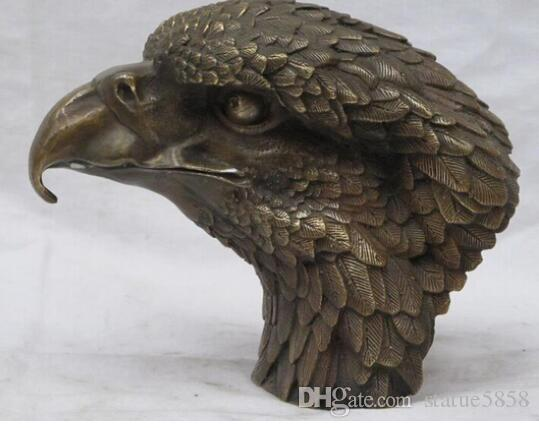 """8""""CHINESE China Sino fengshui Bronze Lucky Animals Birds Hawk Eagle statue"""