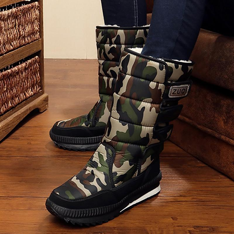 Platform high heels men mid-calf boots waterproof winter snow boots army green short plush hook loop male boot