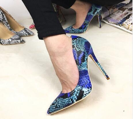 Nuevo cuero genuino punta estrecha mujeres 12cm tacones altos Sexy Slip On mujeres bombas de verano zapatos mujeres zapatos de boda