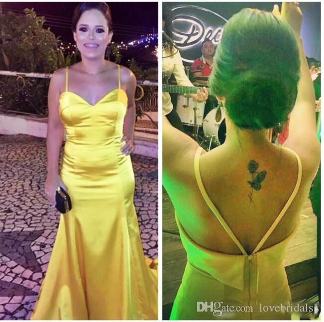 Sexy sirène jaune robes de soirée bretelles spaghetti chérie lombo satin longues Party Robes de bal Robes Red Carpet