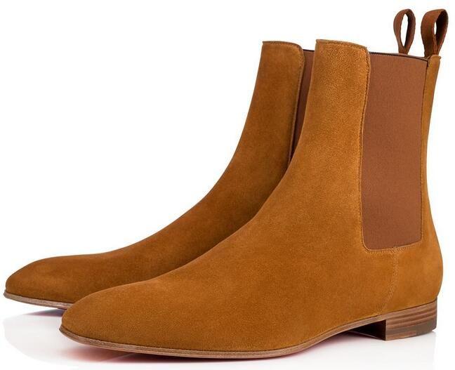 مصمم الأزياء الأنيقة الأعمال رجال أسود من جلد الغزال جلد فارس الأحذية العالية أعلى أحذية أسفل أحمر، العلامة التجارية شقة أحذية الكاحل أحذية عارضة 35-46