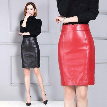 Nuevas mujeres cuero sobre la falda de cuero de la rodilla.