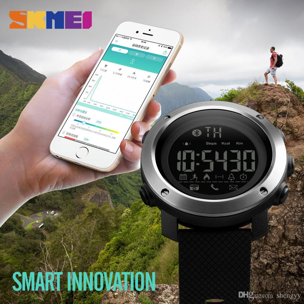 SKMEI Neue 1285 Männer Frauen Mode Sportuhren Outdoor Calorie Call Reminder Bluetooth Fernbedienung Kamera Armbanduhren Leben Wasserdichte Armband