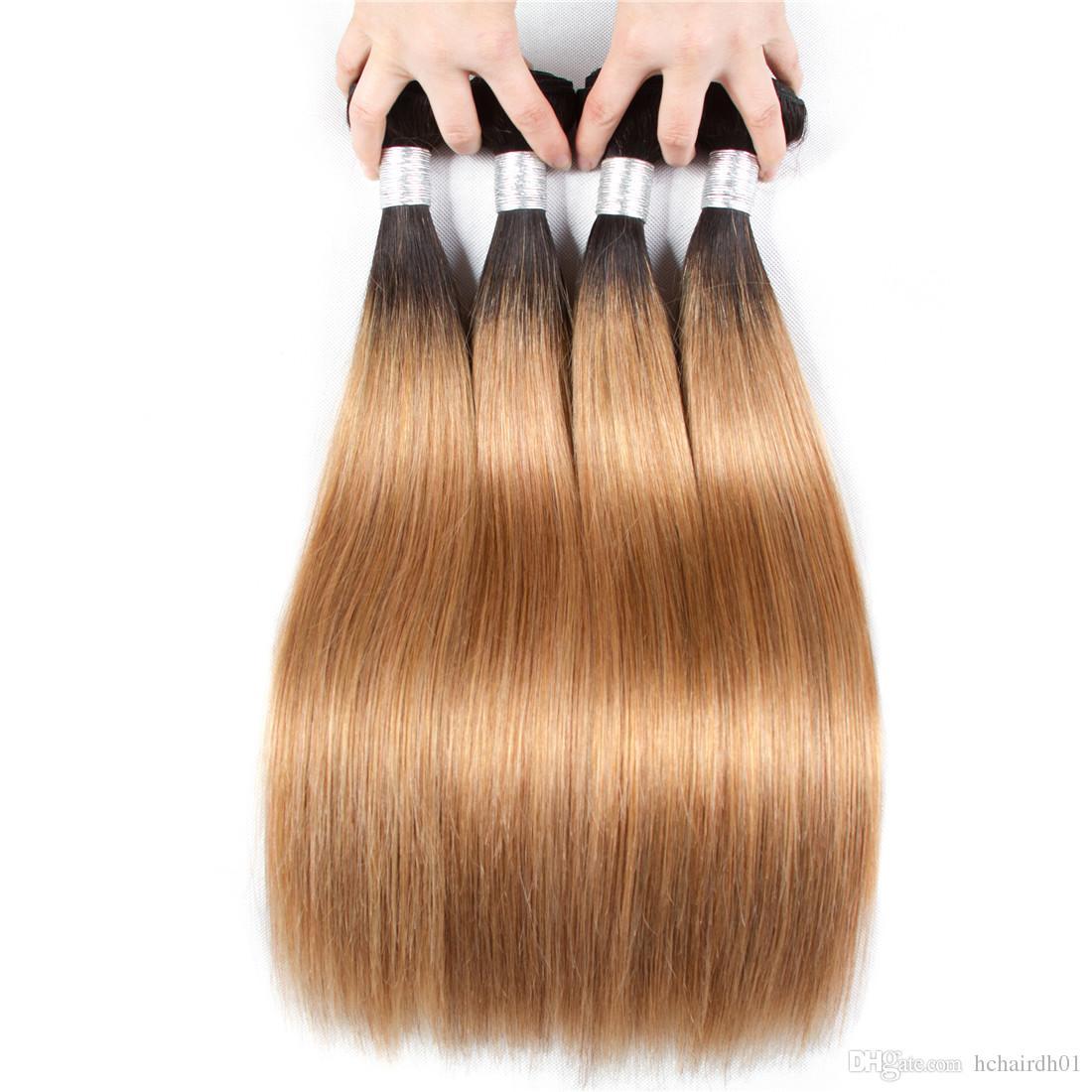 2 톤 Ombre 브라질 스트레이트 헤어 묶음 1B / 27 비 레미 인간의 머리카락 확장 3 또는 4 번들 인간의 머리카락 확장 옴브 짜기