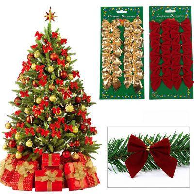 12 ADET Pretty Bow Noel Süsleme Yılbaşı Ağacı Dekorasyon Festivali Parti Ev Bowknots Baubles Baubles Yeni Yıl Dekorasyon