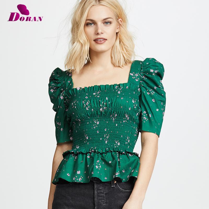 DORAN Elasticity Green Blouse Top de cuello cuadrado con blusa de manga de soplo sin respaldo Sexy Top Summer High Street Blusas 2018